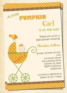 Adorable Fall Baby Carriage Baby Shower by treasuredmoments2000, $12.95
