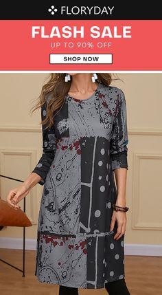 Polka dot round neckline dress, lovely, daily dress, fashion, special offer.
