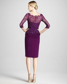 Back of Notte by Marchesa Three-Quarter Sleeve Cocktail Dress with Peplum