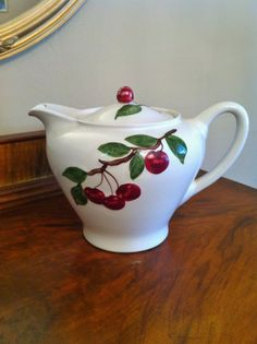 Orchard Ware Cherry Teapot Lidded Vintage 1950s by Comforte, $48.00