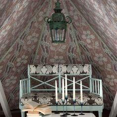 Fabric-lined attic walls