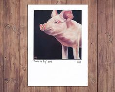 Pig Painting Print Farm Art Matted to fit 5x7 frame, pig painting, oil, farm, giclee