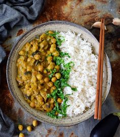 Vegan chickpea curry with eggplant