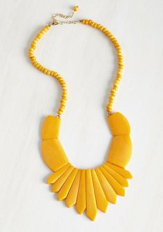 Burst Choice Necklace by Mata Traders - Yellow, Solid, Work, Casual, Statement, Spring, Boho, Eco-Friendly, Festival