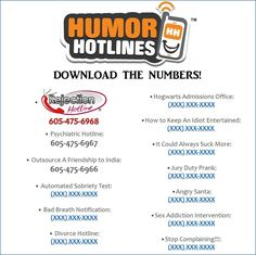 Humor Hotlines (Instant Download - 10  Humor Hotline Numbers!)