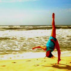 What happens when a gymnast is on a beach!