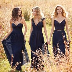 Style 5602 Hayley Paige Occasions bridesmaids dress - (Left) Indigo chiffon strapless A-line bridesmaid gown, sweetheart neckline with lace detail and draped waistband, natural waist with gathered skirt. Navy Blue Bridesmaid Dresses, Prom Dresses, Wedding Dresses, Dresses 2016, Bridesmaid Gowns, Evening Dresses, Formal Dresses, Maid Of Honour Dresses, Stylish Dresses