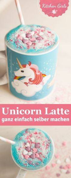 Unicorn Latte – der neue GESUNDE Trend aus New York! Wir haben das Rezept für d… Unicorn Latte – the new HEALTHY trend from New York! We have the recipe for this fast vegan unicorn drink for you! Chai Latte, Donuts, Unicorn Foods, Party Sweets, Ice Cream Candy, Latte Recipe, Healthy Eating Tips, Healthy Nutrition, Vegetable Drinks