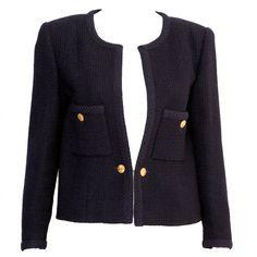 1990s Chanel Classic Dark Navy Wool Boucle Jacket