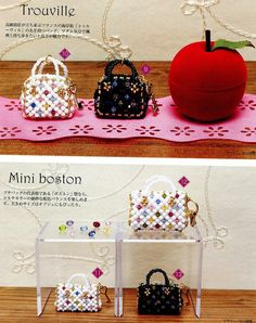 2 Miniature Purse Swarovski Beads Pattern by AliceInCraftyland, $2.90