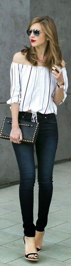 Simple yet too attractive. Off shoulder top, jean pants.