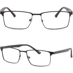 Rectangular Retro Mens Womens Metal Frames Prescription Glasses Sunglasses Black #Unbranded