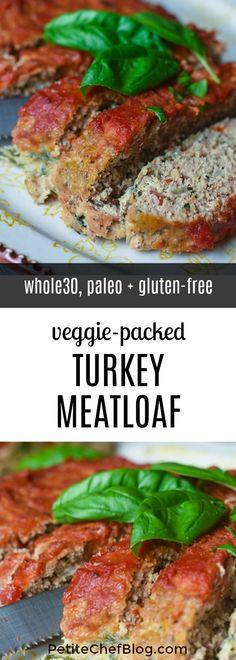 Paleo Turkey Meatloaf, Veggie Meatloaf, Ground Turkey Meatloaf, Gluten Free Meatloaf, Whole 30 Meatloaf Recipe, Oven Meatloaf, Clean Eating Meatloaf, Cooking Meatloaf, Clean Eating Diet