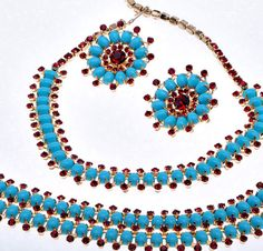 Hattie Carnegie Vintage Necklace, Bracelet, Earrings Parure Set Turquoise Red