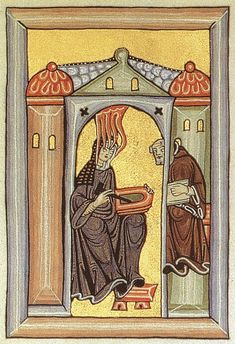 Hildegard Von Bingen, a Medieval abbess.  She is depicted here having a vision sent by God, a monk at her side to write her vision down.  Hildegard's Latin was actually quite bad; she spoke in her own language called Lingua Ignota (Unknown Tongue) and the monks translated her visions later.  She was also highly influential in European politics and an exceptionally skilled composer.