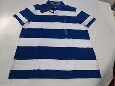 Mens Tommy Hilfiger Polo shirt L Striped 7861233 Bright Royal 434 Custom Fit NEW #TommyHilfiger #polo