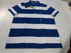 Mens Tommy Hilfiger Polo shirt L Striped 7861233 Bright Royal 434 Custom Fit NEW #TommyHilfiger #polo