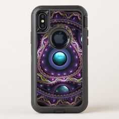 Beautiful Turquoise and Amethyst Fractal Jewelry OtterBox Defender iPhone X Case - beautiful gift idea present diy cyo