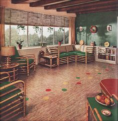 1937 Green & Rattan Family Room by Sealex