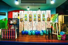 James' Art Attack / Painting Themed Party – Stage Backdrop Dance Recital, 4th Birthday Parties, Paint Party, Craft Party, Party Themes, Backdrops, Arts And Crafts, Display, Artist