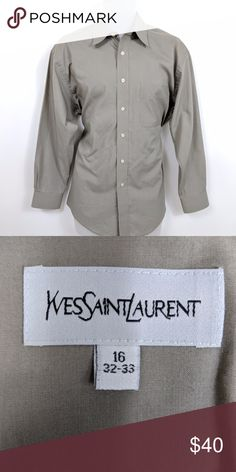 Yves Saint Laurent Men's Dress Shirt Check out this used Yves Saint Laurent men's dress shirt.   Luxury is even more accessible with this fine quality, deep sand colored men's dress shirt in a size 16 32-33.  Condition Notes: Excellent condition. No stains, smells, or fabric damage.  We will consider all reasonable offers. Thanks for shopping with us! Yves Saint Laurent Shirts Dress Shirts