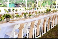 300 feet of burlap fabric! This is a great way to add rustic charm to any event. This fabric can be used for bows, chair sashes or other accents.