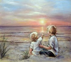 "Brother Sister Beach sunrise sunset ""Good Morning Sunshine"" flat canvas or art paper archival Print, kids wall art, Laurie Shanholtzer Good Morning Handsome, Good Morning Funny, Good Morning Sunshine, Good Morning Picture, Morning Pictures, Morning Images, Morning Quotes, Art Wall Kids, Wall Art"