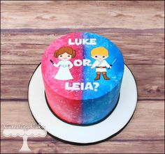Star Wars Gender Reveal Cake. Luke or Leia? www.facebook.com/i.love.cuteology.cakes