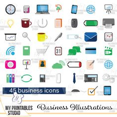 Business color illustrations- commercial use business icon set - printable cliparts - Instant Download jpg & png with transparent background by MyPrintablesStudio on Etsy