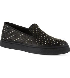 GIUSEPPE ZANOTTI Studded leather slip-on trainers (Black