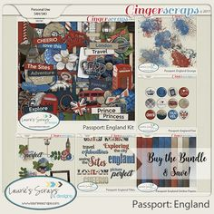 Passport England Digital Scrapbook Page Kit Bundle. Made for all your trips to London, England, or Disneyland Epcot!