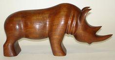 Vintage Wood Carved Rhino by AardewerkenZo on Etsy, €85,00