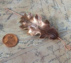 Oak Leaf Shawl Pin Leaf Scarf Pin Copper by SterlingSimplicity. Crochet Tools, Knit Or Crochet, Small Gauges, Shawl Pin, Love To Shop, Fall Fashion, Weaving, Handmade Jewelry, Copper