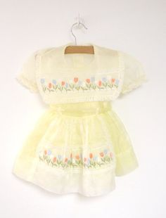 Vintage Baby Clothes 1950's Bright Yellow Chiffon by BabyTweeds