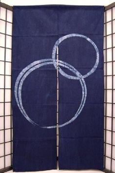 暖簾-のれん ローケツ染め綿100% 丸瓢箪(藍・灰・からし)