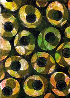 I made this on paper with Gelli Arts Gel Printing Plate, and this might work as a fabric design too.