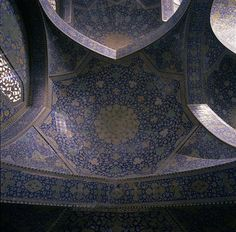 Iran Isfahan Masjid E-Eman Mosque – Interior View Of The Ceiling Persian Architecture, Present Day, Byzantine, Southeast Asia, Iran, Tiles, Ceiling, Outdoors, Places