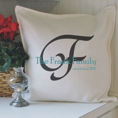 $29.95 established monogram personalized pillow cover by ElizaJayHome