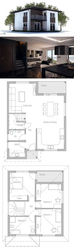 Small House Plan, Affordable to build, three bedrooms. Floor Plan from #modern home design| http://home-design-collections.lemoncoin.org