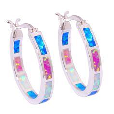 """Blue Pink White Opal Women Jewelry Gemstone Silver Hoop Earrings 7/8"""" Oh3033"""