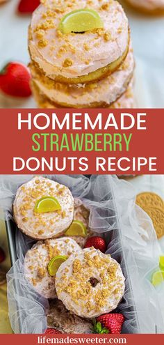 Skip the bakery and make these homemade strawberry donuts instead. They are flavorful and easy to make.