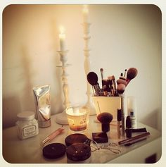 Make up storage with candles