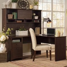 Have to have it. Bush Furniture Buena Vista 60 in. L-Shaped Desk with Hutch - Madison Cherry - $628.98 @hayneedle