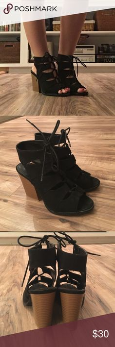 Black Lace Up Booties Perfect condition - only worn 👆🏼time! Bulky heel makes it comfortable and easy to walk in. Charlotte Russe Shoes Ankle Boots & Booties