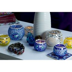 Świecznik, lampion mozaikowy, dekoracyjny, ręcznie wykonany, szklana mozaika www.dekomozaik.pl