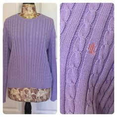 Lauren Ralph Lauren sweater Pretty purple Lauren Ralph Lauren cable knit sweater. Ralph Lauren Sweaters Crew & Scoop Necks