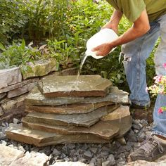 Build this attractive backyard waterfall in less than a day. It's simple to build and you can easily customize the waterfall to fit with the materials and d Backyard Water Feature, Ponds Backyard, Backyard Waterfalls, Garden Ponds, Koi Ponds, Diy Waterfall, Garden Waterfall, Diy Pondless Waterfall, Outdoor Waterfall Fountain