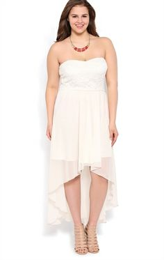 Fancy Plus Size Strapless High Low Dress with Lace Bodice
