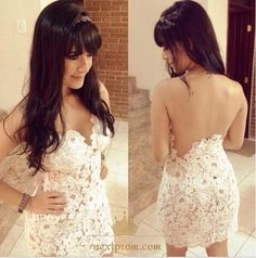 Summer Sundress 2017 White Dress Slim Lace Party Night Club Bodycon Strapless Backless Hollow out Women Dress Mini Vestidos Lace Party Dresses, Club Dresses, Evening Dresses, Mini Dresses, Party Gowns, Dress Party, Lace Gowns, Dresses Uk, Dresses Online