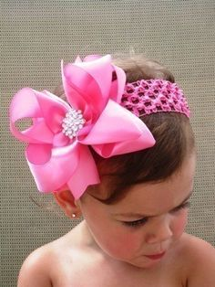 Hot Pink Glitz and Glam Boutique Hair Bow by theprincessandme, $7.99